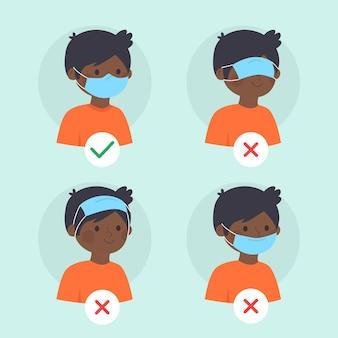 Come indossare una maschera per il viso con giusto e sbagliato