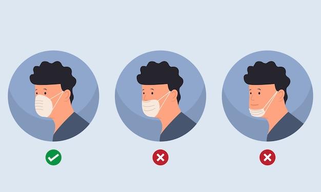 Come indossare la maschera nel modo giusto e sbagliato. avviso al cittadino di indossare correttamente la maschera per prevenire il virus corona. stile piatto isolato.