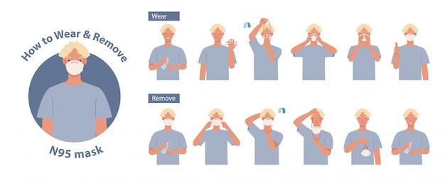 Come indossare e rimuovere la maschera n95 corretta. uomo che presenta il metodo corretto di indossare una maschera, per ridurre la diffusione di germi, virus e batteri. illustrazione in uno stile piatto