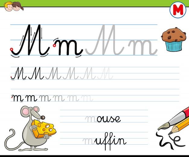 Come scrivere lettera m foglio di lavoro per bambini