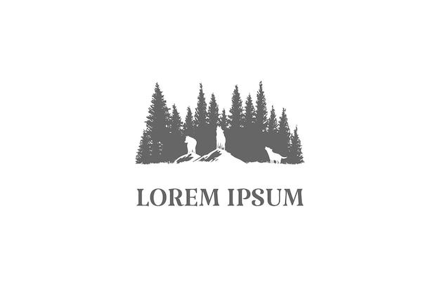 Lupi ululanti con pino cedro abete rosso abete sempreverde conifera larice cipresso cipresso alberi foresta per avventura all'aperto nella natura selvaggia logo design vettoriale