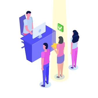 Carattere dell'agente delle risorse umane che sceglie il datore di lavoro in design piatto