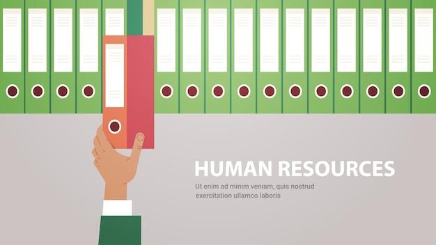Hr manager mano ufficio tirando fuori cartella rossa in archivio reclutamento risorse umane concetto orizzontale copia spazio illustrazione vettoriale