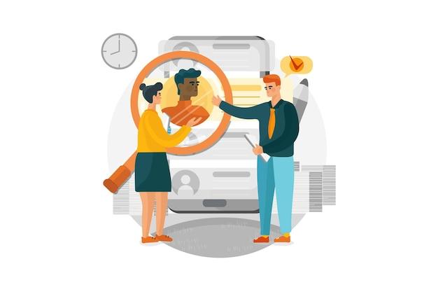 Responsabili delle risorse umane alla ricerca di nuovo concetto di illustrazione dei dipendenti