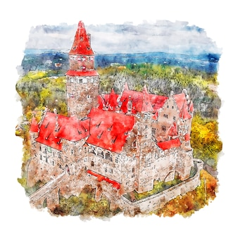 Illustrazione disegnata a mano di schizzo dell'acquerello del castello di hrad bouzov
