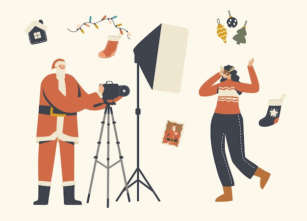 Illustrazione di sessione fotografica di natale