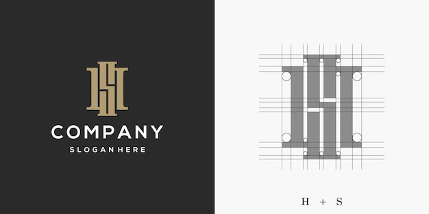 Logo hs, design del logo lettera hs