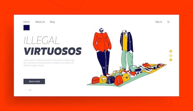 Modello di pagina di destinazione delle merci in vendita di personaggi di uomini di hucksters