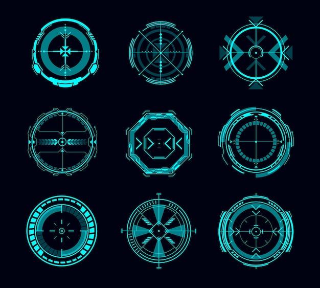 Controllo mira hud, obiettivo futuristico o interfaccia di navigazione