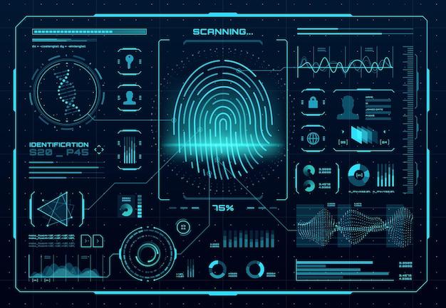 Interfaccia di controllo dell'accesso biometrico hud. scanner di impronte digitali, identificazione digitale o tecnologia di autenticazione. stampa del pollice vettoriale con elementi infografici luminosi al neon, dna, grafici e grafici