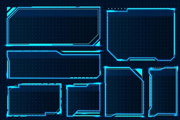 Scatola hud. elementi astratti dello schermo di gioco, cornice dell'interfaccia tecnologica futuristica, dispositivo militare fantascientifico