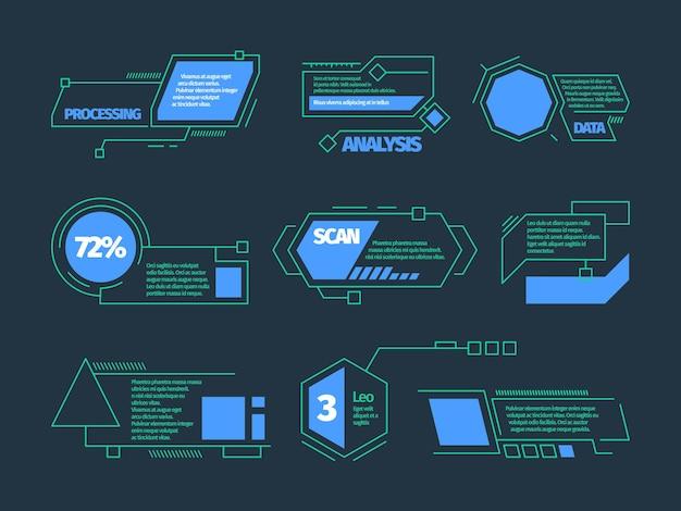 Chiamate hud. la tecnologia futura incornicia la raccolta di callout digitali di scatole di barre tecnologiche vettoriali. infografica futuristica, illustrazione dell'ologramma della tecnologia digitale