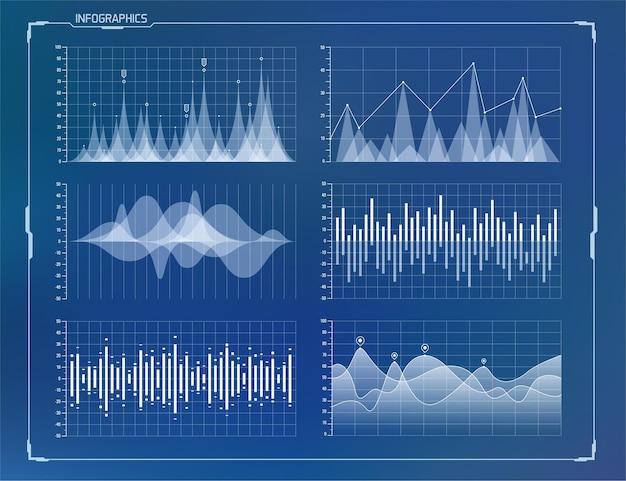 Elementi hud impostati per un'interfaccia utente futuristica.