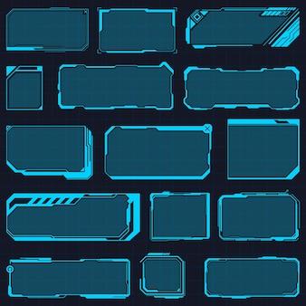 Cornici hud. pannelli di interfaccia hud futuristici digitali, schermo ad alta tecnologia dell'ologramma, finestra dell'interfaccia moderna