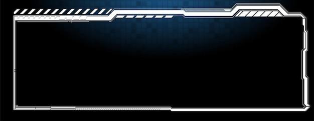 Cornici hud. elementi dell'interfaccia utente moderni futuristici, pannello di controllo hud. finestra dell'ologramma digitale dello schermo ad alta tecnologia. cruscotto futuristico di fantascienza. tecnologia della realtà virtuale. illustrazione vettoriale