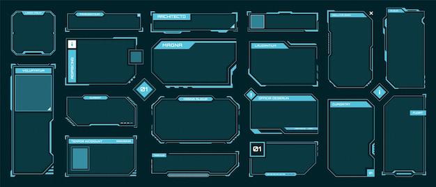 Cornici hud cornice di bordo futuristica casella di testo set vettoriale di pannelli ologramma schermo digitale fantascientifico