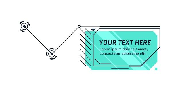 Titolo callout in stile futuro hud. barra della casella di chiamata infografica e moderno modello di layout della cornice delle informazioni digitali. elemento della casella di testo dell'interfaccia utente e della gui. illustrazione vettoriale