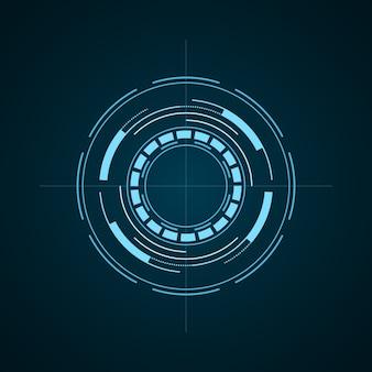 Elemento futuristico hud isolato su sfondo scuro. interfaccia utente hi-tech. bersaglio virtuale astratto