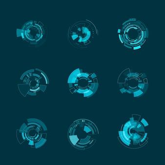 Modello di interfaccia futuristica hud. pannelli hud e forme ologramma. illustrazione