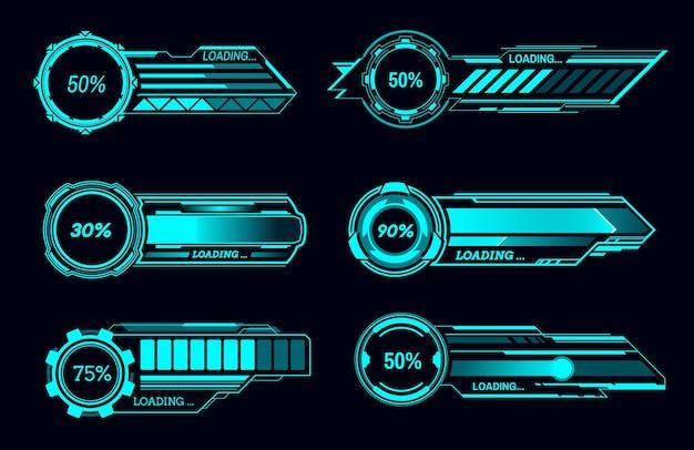 Hud barre di caricamento futuristiche e interfaccia utente sci fi