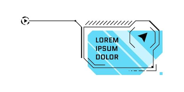 Hud titolo di richiamo blu in stile futuristico. barra della casella di chiamata infografica e modello di layout del telaio fantascientifico di informazioni digitali moderne. elemento della casella di testo dell'interfaccia utente e della gui. illustrazione vettoriale isolato