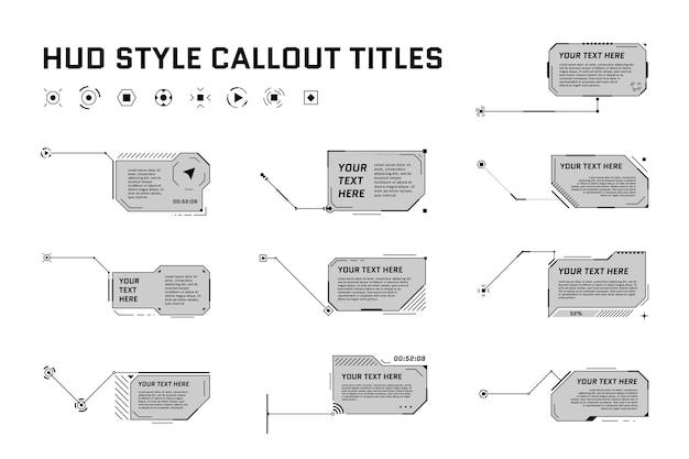Hud titoli di callout in stile futuristico su sfondo bianco infografica chiamata freccia box bar e moderno