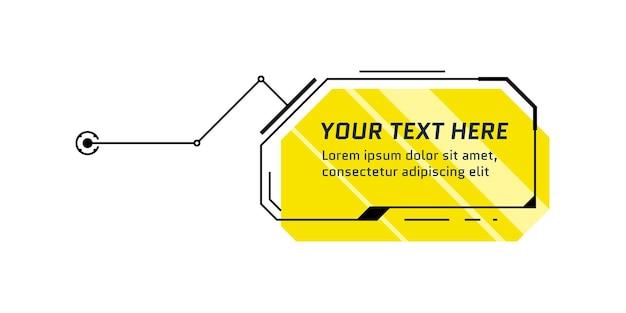 Hud titolo di richiamo giallo in stile futuristico. barra della casella di chiamata infografica e modello di layout del telaio fantascientifico di informazioni digitali moderne. elemento della casella di testo dell'interfaccia utente e della gui. illustrazione vettoriale