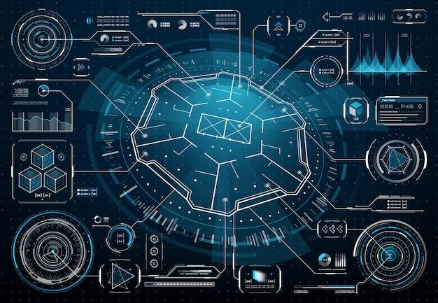 Interfaccia utente futuristica hud, infografica tecnologia aziendale, dashboard digitale, grafico dati. elementi di ologramma vettoriale, display di informazioni, caselle informative, titoli di callout dell'interfaccia utente, barre di stile hi-tech digitali