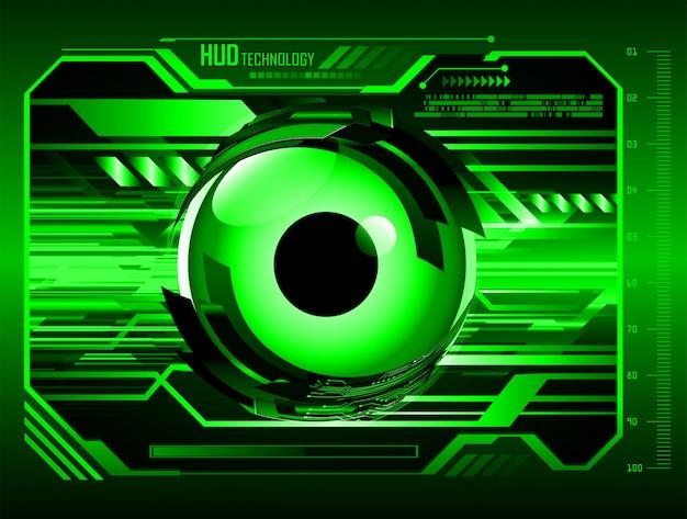Hud sfondo di tecnologia futura del circuito cyber verde