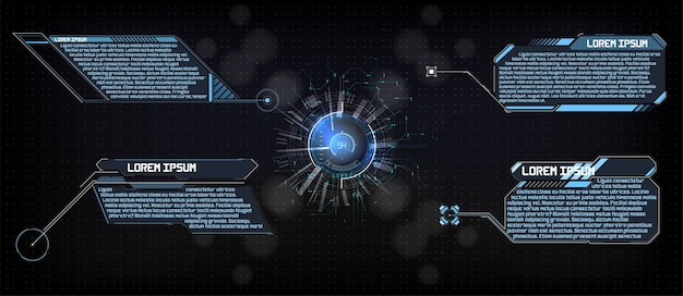 Hud gui display futuristico hitech tema di analisi tecnologica e scientifica digitale