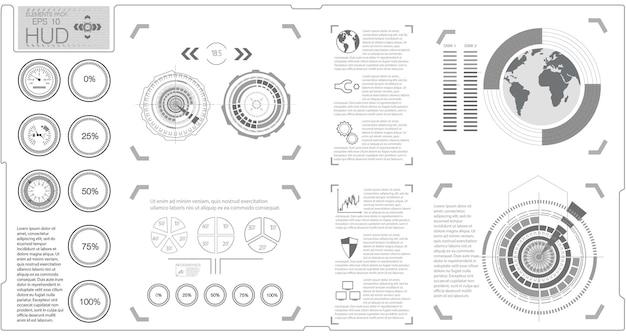 Elementi di infografica hud. affari di dati digitali