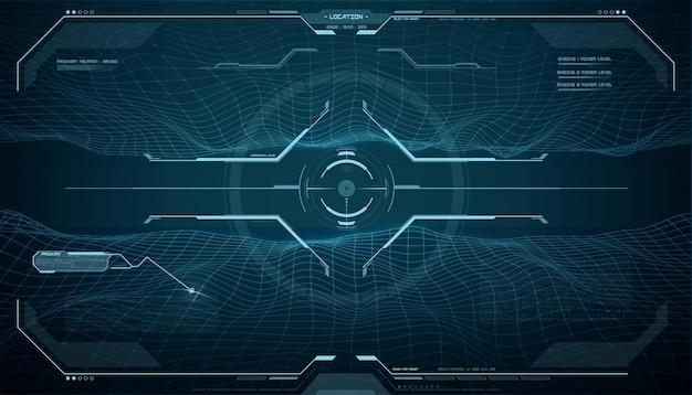 Schermo del monitor hud, interfaccia di controllo della mira del bersaglio