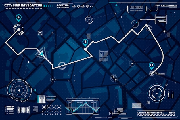 Sfondo di navigazione hud. sfondo dell'interfaccia della schermata di navigazione della mappa della città con bussola, grafici e punti della mappa sullo schermo del computer. viaggio in auto o destinazione della consegna e mappa del percorso della posizione sulle strade della città