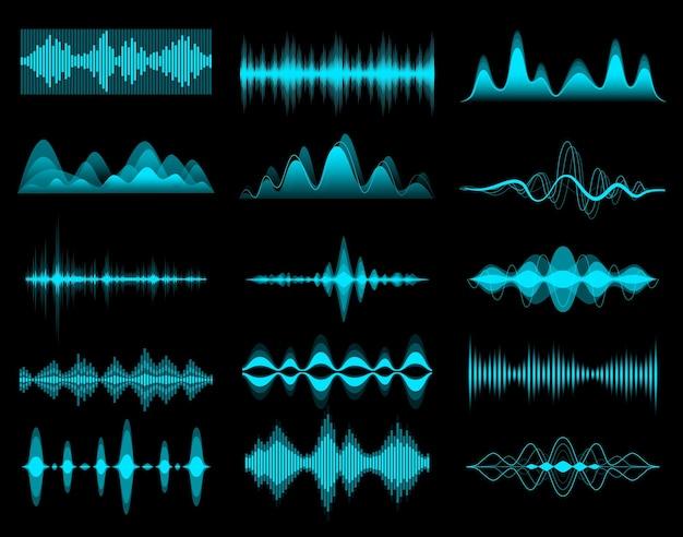 Equalizzatore di musica audio hud, onde audio. elementi dell'interfaccia, forma d'onda della frequenza vocale vettoriale. onda sonora hud o forma d'onda digitale del segnale radio, volume della musica e equalizzatore di registrazione o riproduzione