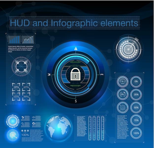 Stile hud nell'illustrazione della sicurezza di rete. elementi di infografica.