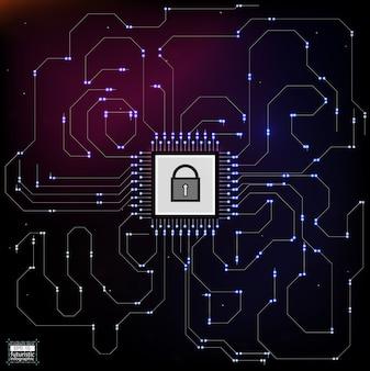 Stile hud nell'illustrazione della sicurezza di rete.