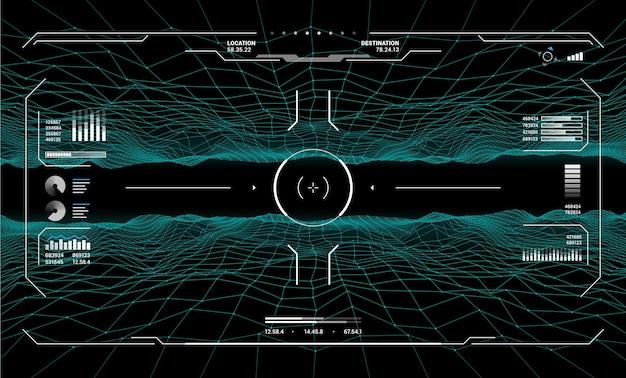Controlli dell'obiettivo dell'hud sull'interfaccia futuristica dello schermo, sfondo del cruscotto vettoriale. il bersaglio hud mira sullo schermo radar, sul cruscotto di gioco e sui controlli del pannello dell'interfaccia utente con tecnologia mirino