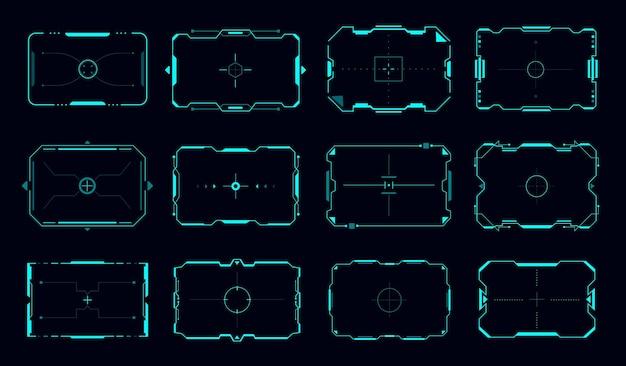 Cornici di destinazione hud e bordi vettoriali del pannello di controllo mira, interfaccia utente o gui del gioco di fantascienza. cornice dello schermo di destinazione del display digitale futuristico con bordi al neon blu e mirino di mira