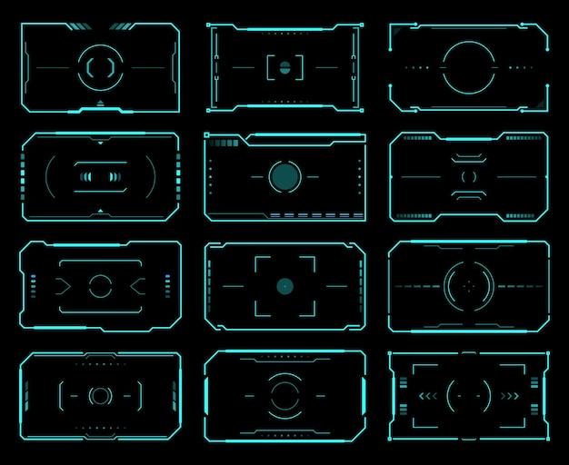 Fotogrammi target hud, controllo della mira, interfaccia utente per lo sci fi