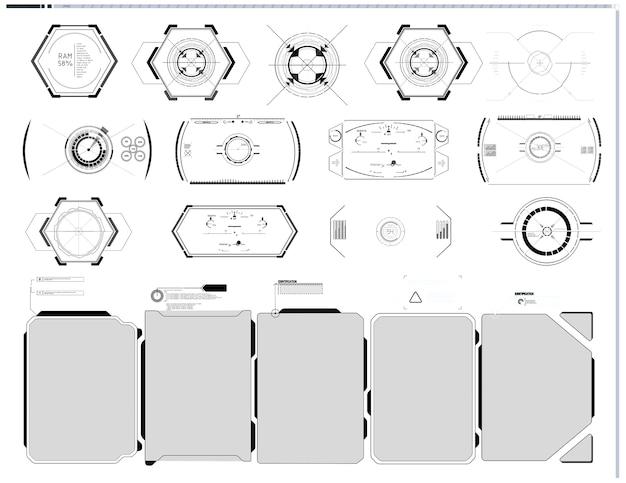 Set di elementi dello schermo dell'interfaccia utente futuristica della gui dell'interfaccia utente hud
