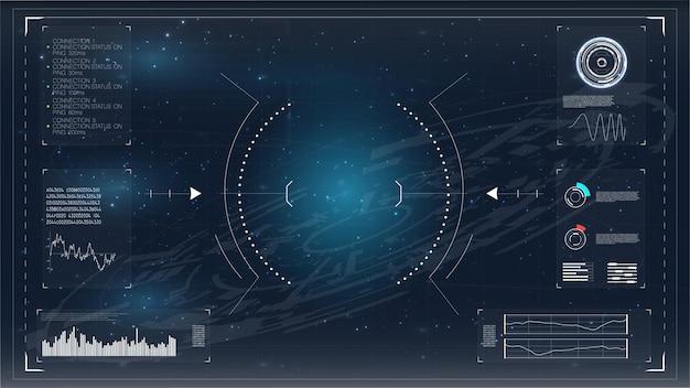 Modello di connessione infografica moderna hud ui icona di riproduzione