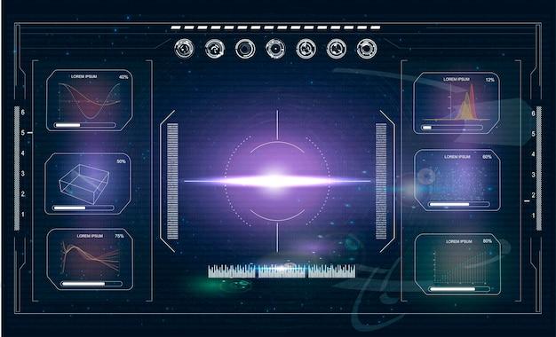 Schermata hudradar interfaccia utente futuristica per app