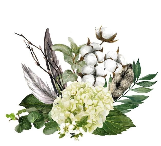 Disegnato a mano bouquet di hudrangea e piume