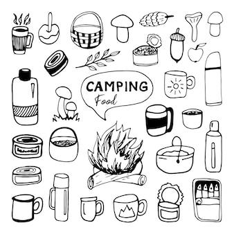 Set di clip art di cibo e bevande da campeggio vettoriali disegnati a mano enormi design da viaggio