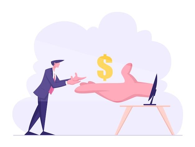 Mano enorme dal monitor del pc allunga i soldi a un uomo d'affari