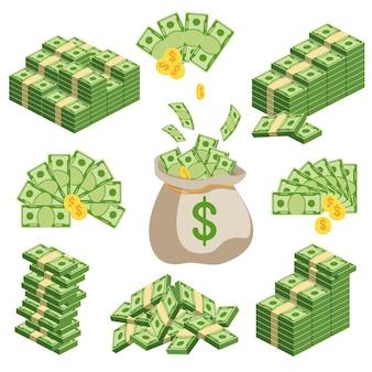 Enormi pacchi di banconote. pacchetto con fatture in contanti. tenere i soldi in banca. deposito, ricchezza, accumulazione ed eredità. illustrazione dei soldi del fumetto piatto vettoriale. oggetti isolati su uno sfondo bianco.