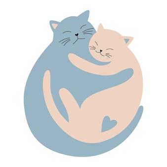 Abbracciare gatti innamorati amanti carini gatti che dormono l'uno nelle braccia dell'altro buon san valentino card design
