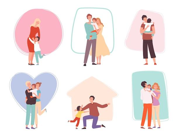 Abbracciare i bambini. i genitori abbracciano i loro figli. caratteri della famiglia felice confortati parlando madre padre e bambino gruppo vettoriale. illustrazione abbraccio e abbraccio, bambini e genitori felici