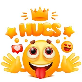 Abbracci adesivo web con personaggio dei cartoni animati giallo emoji. emoticon sorriso viso.