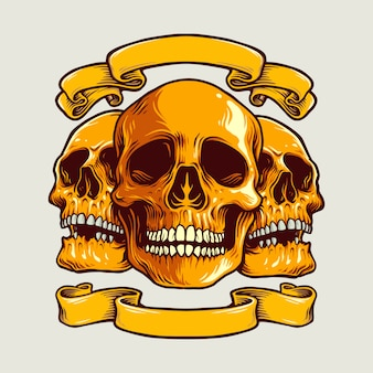 Illustrazioni del cranio di arte umana